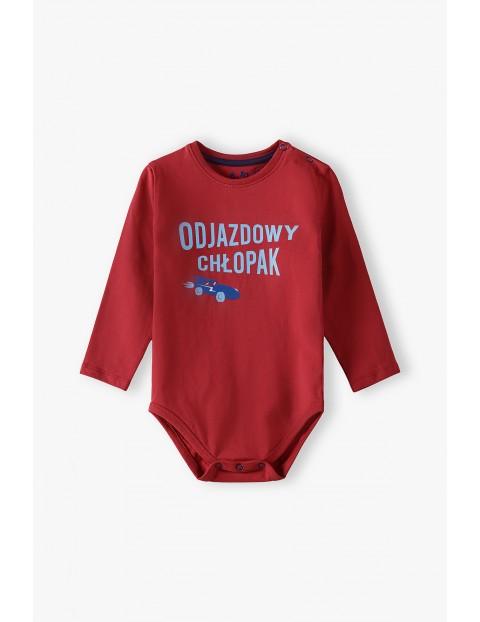 Body niemowlęce z polskim napisem - ODJAZDOWY CHŁOPAK - czerwone