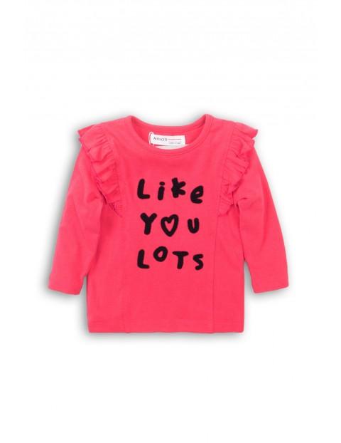 Bluzka niemowlęca- różowa z ozdobnymi falbankami