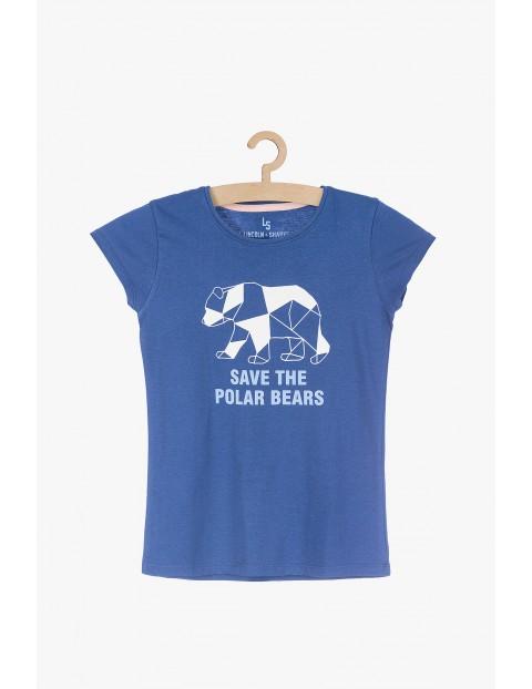 T-shirt dziewczęcy bawełniany - Save the polar bears