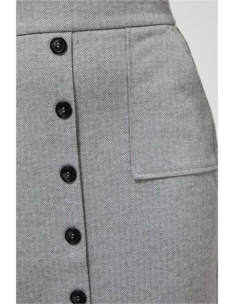 Spódnica o ołówkowym kroju - szara w jodełkę