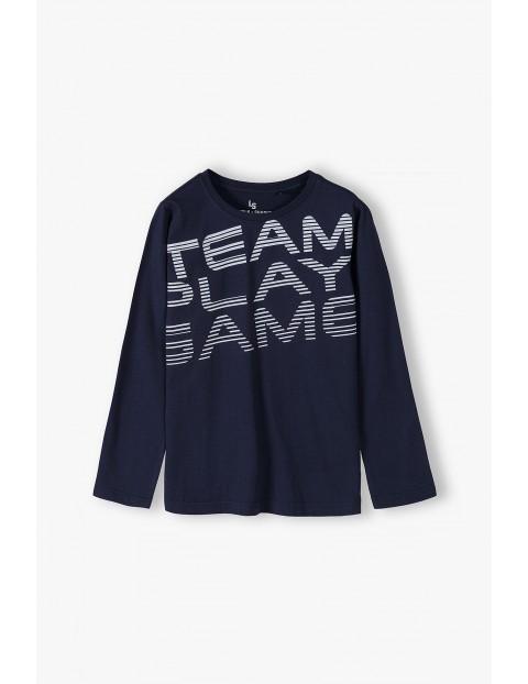 Bawełniana bluzka chłopięca z długim rękawem- Team Play Game