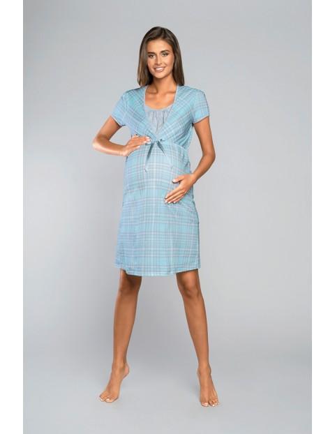 Koszula nocna ciążowa MITALI z krótkim rękawem - niebieska w kratę