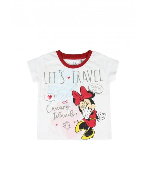 T-shirt dziecięcy z nadrukiem Minnie- biały
