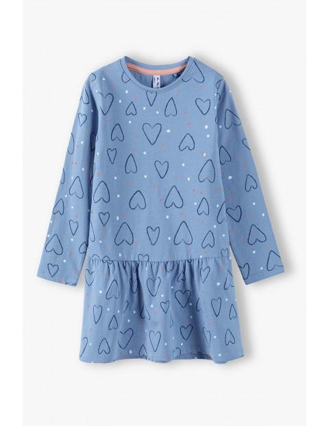 Bawełniana niebieska sukienka w serduszka