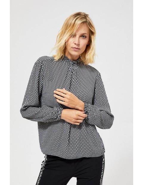 Bluzka damska z długim rękawem- biało-czarna