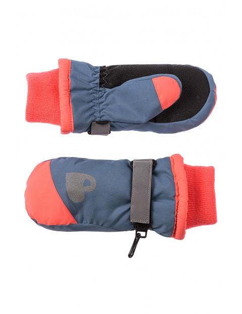 Rękawiczki narciarskie- szare z elementami odblaskowymi