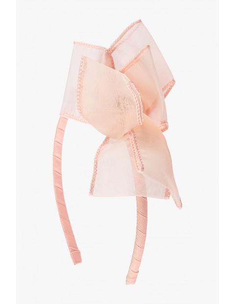 Opaska do włosów- różowa z kokardą