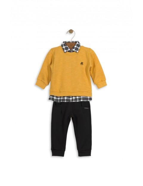 Komplet chłopięcy sweter koszula i spodnie