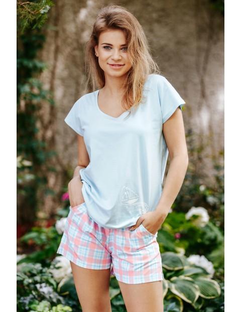 Kobieca bawełniana piżamka - koszulka i szorty
