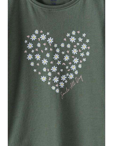 Bawełniana bluzka dziewczęca na długi rękaw z serduszkiem - khaki