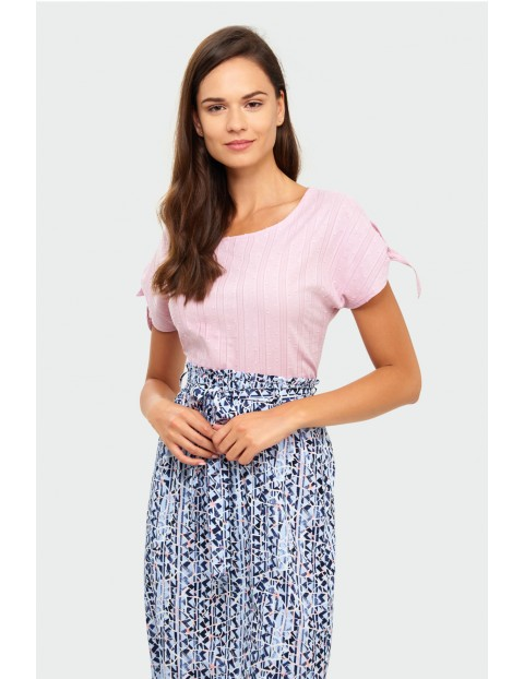Bluzka damska z wiązaniem na rękawach- różówa