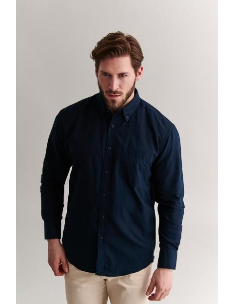 Bawełniana koszula męska - granatowa Tatuum