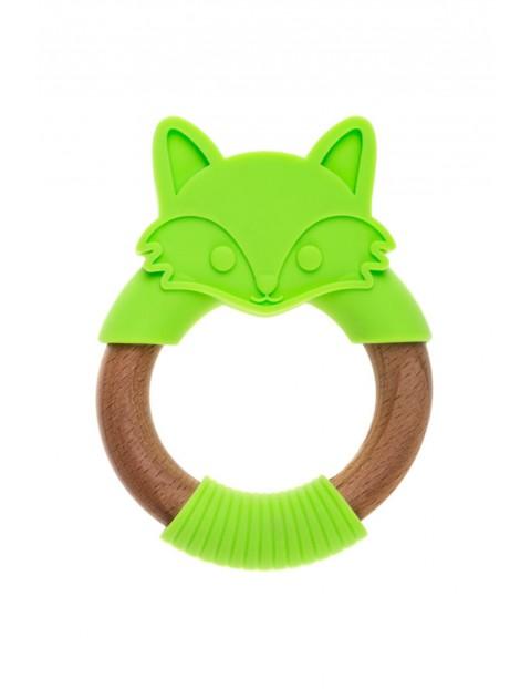 Gryzak drewniano - silikonowy Zielony Lisek