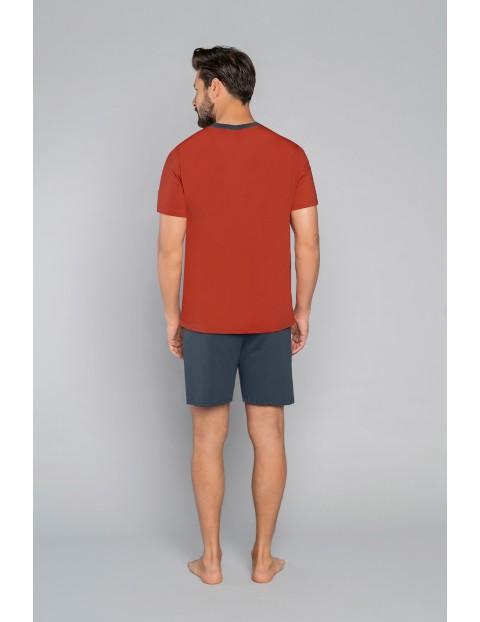 Bawełniana piżama męska z krótkim rękawem z nadrukiem