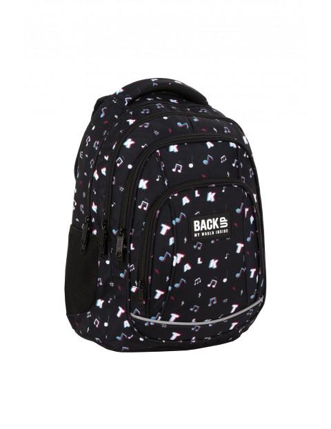 Plecak BackUp chłopięcy czarny z kolorowym nadrukiem