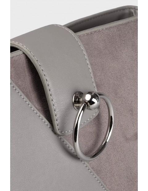 Elegancka torba z łączonych materiałów- brązowa