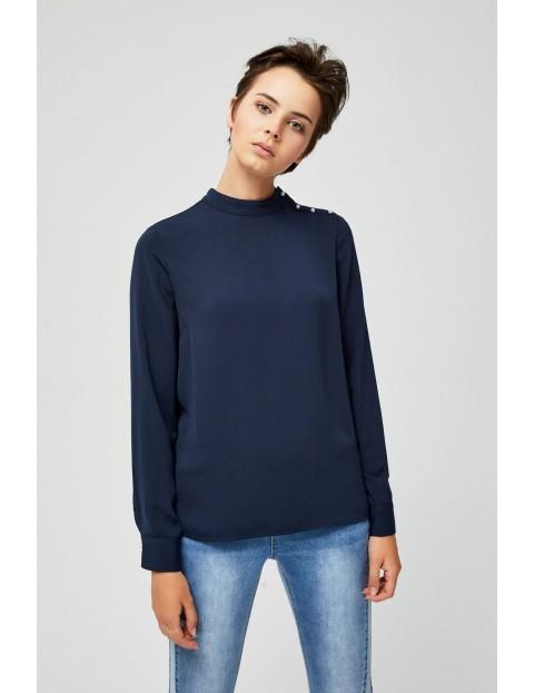 Granatowa bluzka damska z długim rękawem