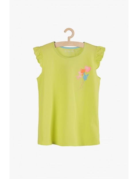 Bawełniany t-shirt dla dziewczynki- kolorowy nadruk