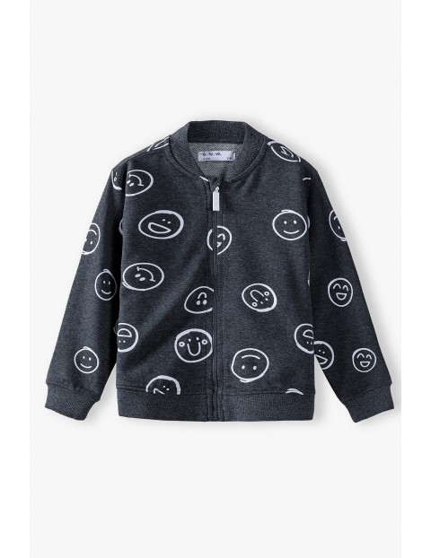 Bluza dresowa chłopięca rozpinana- szara z buźkami