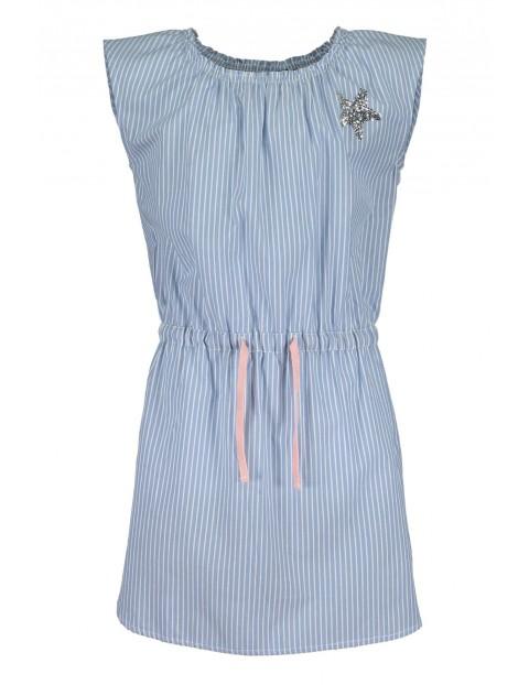Sukienka na lato- niebiesko-białe paski i różowy sznurek