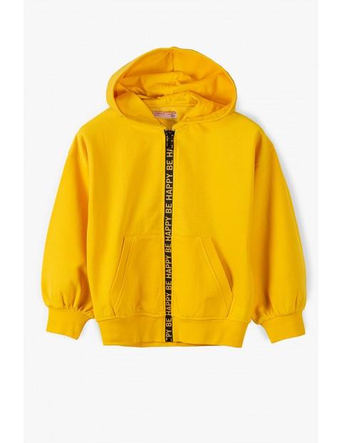 Bluza dresowa dziewczęca - żółta z ozdobnym suwakiem