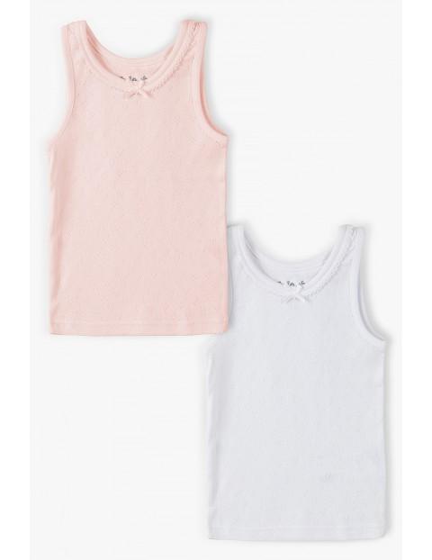 Podkoszulki bieliźniane dla dziewczynki różowa i biała 2pak