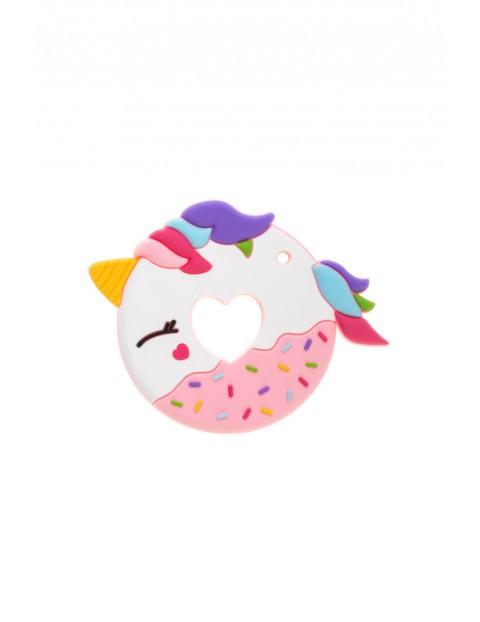 Gryzak silikonowy Donut - różowy wiek 0msc+