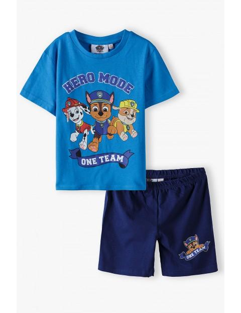Piżama chłopięca z krótkim rękawem- Psi Patrol - niebieska