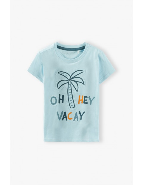 T-shirt chłopięcy w kolorze błękitnym z palmą