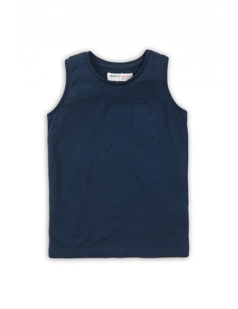 Koszulka na ramiączka dla niemowlaka - granatowa z kieszonką