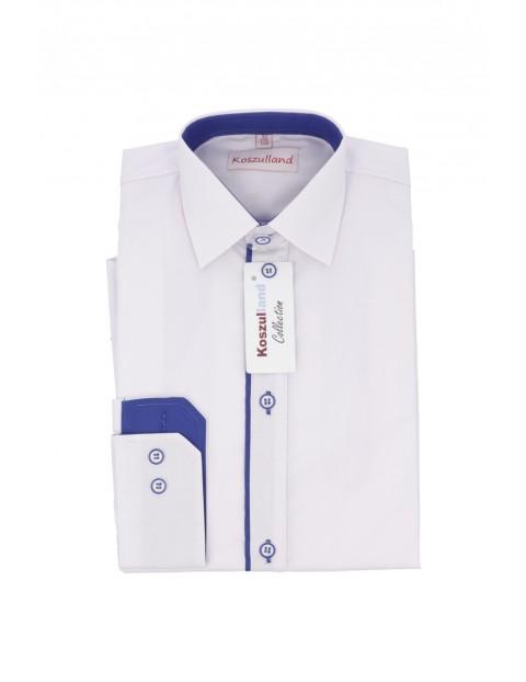 Biała elegancka koszula dla chłopca z niebieską plisą