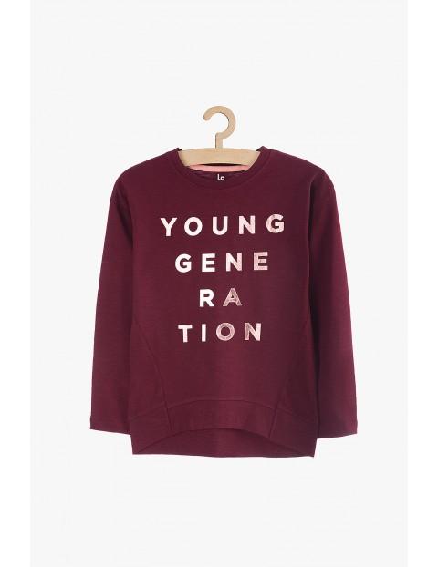 Bluzka dziewczęca z długim rękawem i napisem Young generation