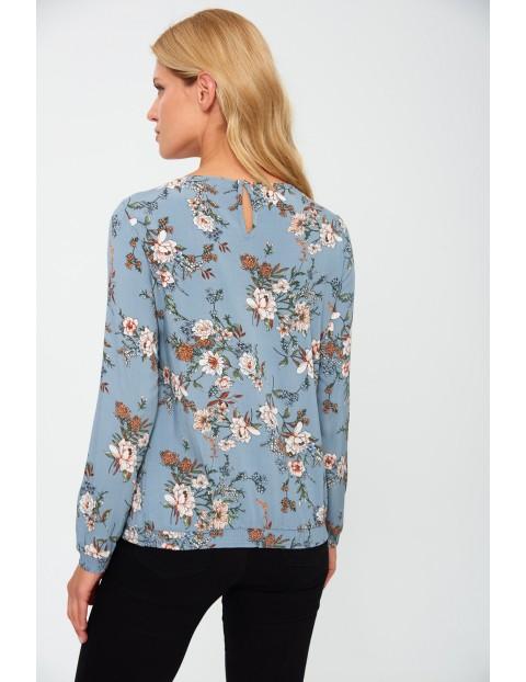 Bluzka damska z wiskozy w kwiaty - niebieska