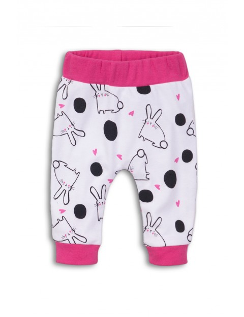 Spodnie dresowe niemowlęce w króliczki-100% bawełna