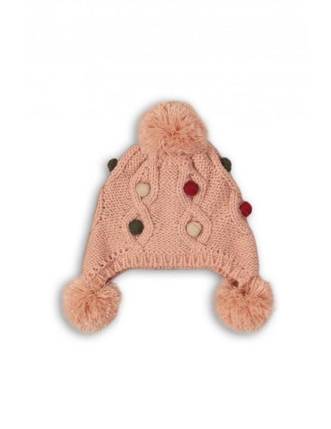 Czapka dziewczęca zimowa- różowa