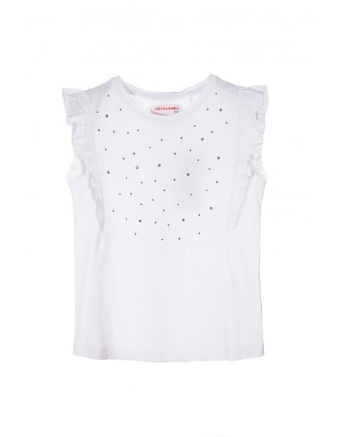 Bluzka dziewczęca biała z ozdobnymi falbankami przy rękawach