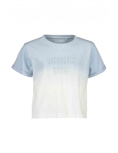 T-Shirt dziewczęcy niebiesko-biały