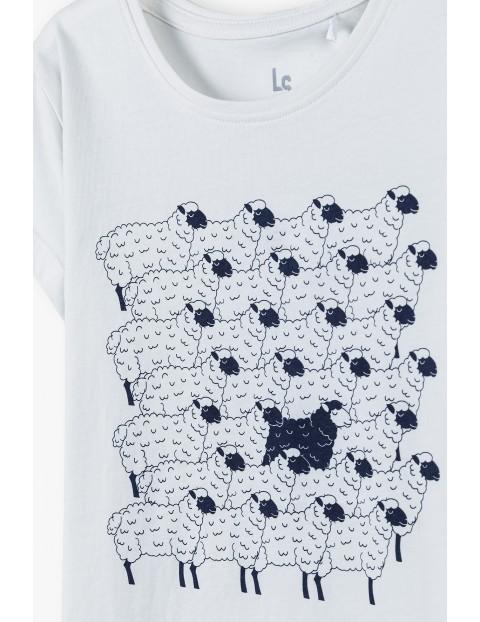 Bawełniany biały t-shirt dziewczęcy z barankami
