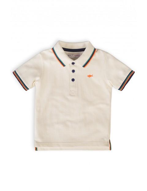T-shirt niemowlęcy z kołnierzykiem- biały