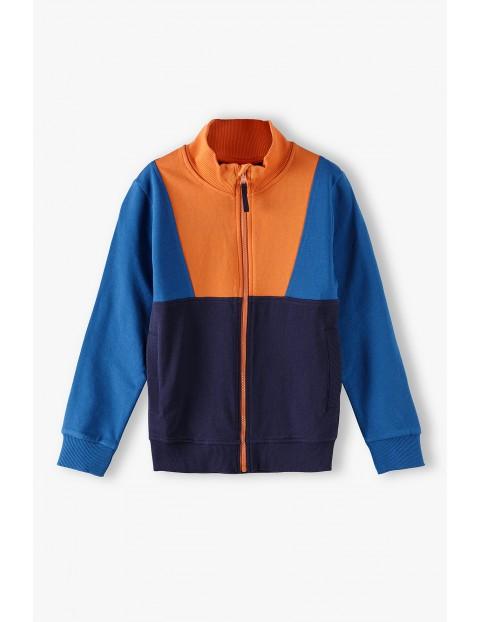 Bawełniana bluza chłopięca rozpinana w geometryczny wzory
