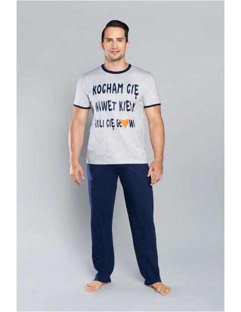 Piżama męska - krótki rękaw i długie spodnie - melanż/granat