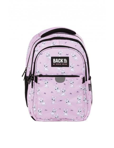 Plecak BackUp dziewczęcy z sarenkami różowy