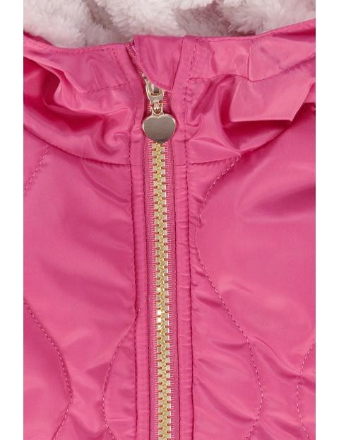 Różowa kurtka dziewczęca- zimowa na polarowej podszewce