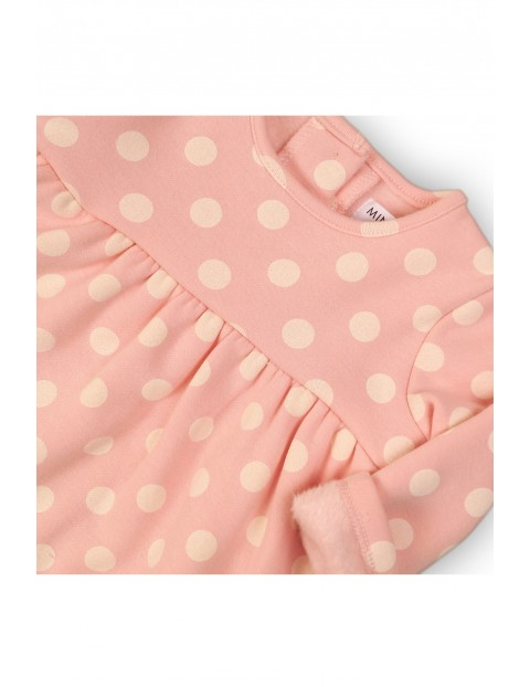 Sukienka dziewczęca z dzianiny dresowej- różowa w grochy