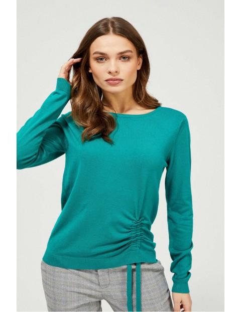 Sweter damski z wiązaniem - zielony