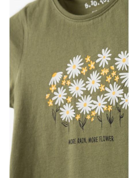 Bawełniany t-shirt dla dziewczynki - khaki z kwiatkami