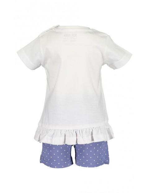 Komplet dziewczęcy biało-niebieski z motylkami koszulka i spodenki