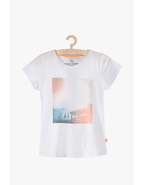 T-shirt dziewczęcy biały bawełniany z kolorowym nadrukiem