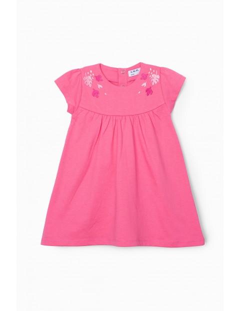Sukienka niemowlęca z kwiatkami - różowa