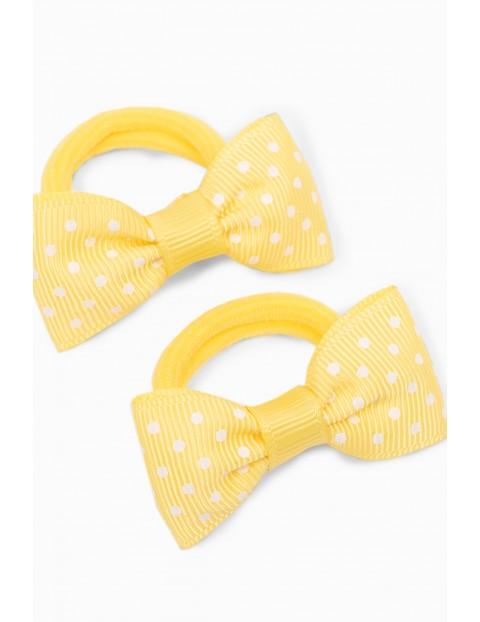 Gumki do włosów w kształcie kokardek - żółte kokardki - 2pak